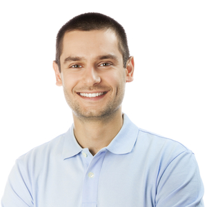 A man smiles to show how dental implants can restore your smile. Our Beaverton family dentistry service include dental implants