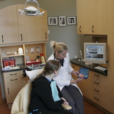 Dr. Dotson working with an actual patient at our Beaverton dental practice.