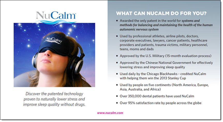 Infographic showing the benefits of NuCalm