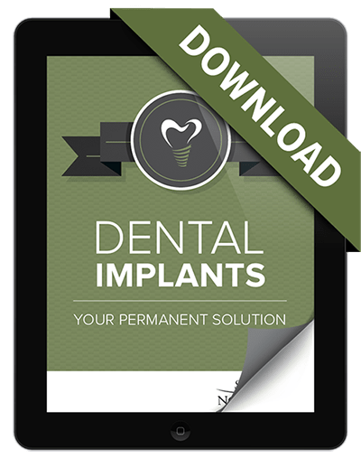 Homepage preview of our dentist in Beaverton's FREE Dental Implants eBook displayed on an iPad.