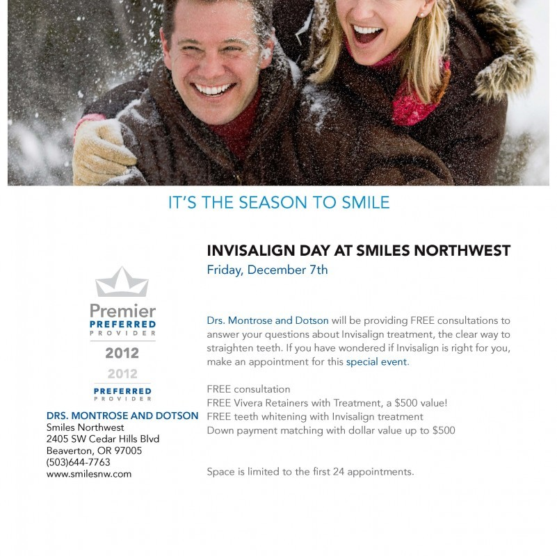 Flier for Invisalign Day at Smiles Northwest in Beaverton, OR