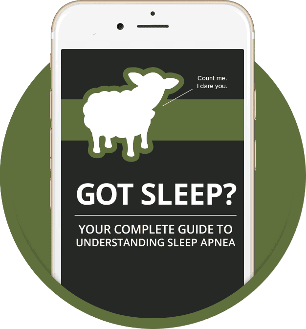 Preview of our FREE Sleep Apnea ebook displayed on an iPhone.