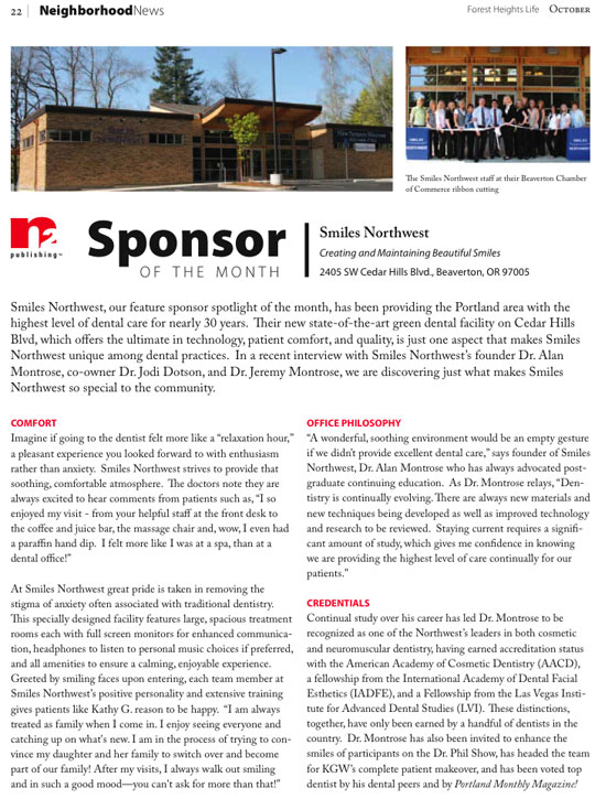 Portland's Forest Heights Life Magazine featuring Smiles Northwest
