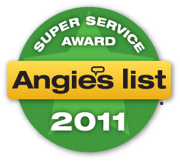 Badge showing our Super Service Award from Angie's List in 2011